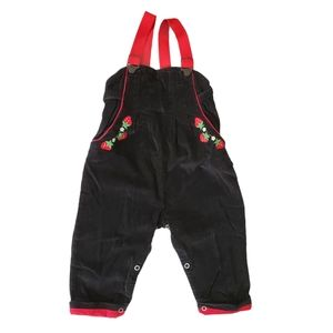 VTG Strawberry Black Corduroy Lined Overalls Bibs